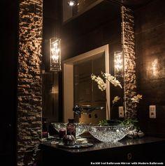 Backlit Led Bathroom Mirror with Modern Bathroom With