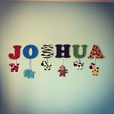 Personalised Childrens Name Large Wall Letters Bedroom/Sign - wood -Animal Theme