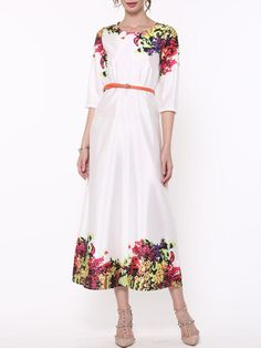 #Fashionmia - #Fashionmia Floral Printed Trendy Round Neck Maxi-dress - AdoreWe.com