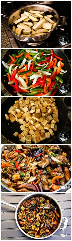 Eggplant, Bellpepper, Tofu Stri-fry. 4 1/2 tb. Hoisin Sauce, 1/2 cup soy, 1/4 cup water, 1-2 ts. cili sauce, 2 tsp. corn starch.