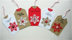 Holiday tags by Marisa Ritzen using Verve Stamps.  #vervestamps