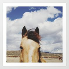 Cloudy Horse Head Art Print by Kevin Russ