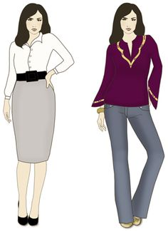 A don't (left) and a do (right) for short-waisted women. A don't (left) and a do (right) for short-waisted women. Fashion And Beauty Tips, Fashion Advice, Look Fashion, Autumn Fashion, Womens Fashion, Fashion Design, Short Legs Long Torso, Short Waist, Tips