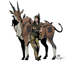 Eland Ranger by (Deviantart) - Probably my favorite of the series. Character Concept, Character Art, Robot Animal, Creature Drawings, Robot Concept Art, Futuristic Art, Sci Fi Art, Character Design Inspiration, Mythical Creatures