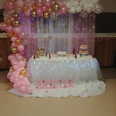 Baby shower party decorations babyshower decorating ideas 18 Ideas for 2019 Princess Party Decorations, Birthday Balloon Decorations, Girl Baby Shower Decorations, Birthday Balloons, Pink And Gold Decorations, Minnie Mouse First Birthday, Baby Shower Princess, Pink Princess Party, Princess Bridal