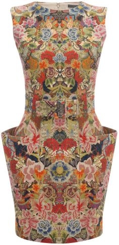 Alexander Mcqueen Patchwork Floral Belted Mini Dress