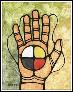 Unity - 'Abdu'l-Baha quote about fingers of the hand working together alone they are useless. or something like that Art by Ayla Bouvette Aboriginal Culture, Aboriginal Art, Native Art, Native American Indians, Native Americans, Medicine Wheel, Indigenous Art, Canadian Artists, First Nations