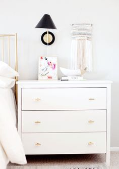 We love how E. Interiors utilized our gold drawer pulls to dress up her master bedroom. They add a luxurious feel to a plain dresser and look absolutely stunning!
