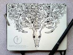 Moleskine Notebook Art by Kerby Rosanes - purple leaves Notebook Art, Notebook Doodles, Pen Doodles, Doodle Art, Pages Doodle, Art Sketches, Art Drawings, Moleskine Sketchbook, Sketchbooks