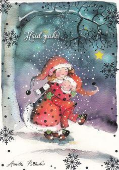 New Single Christmas Card by Anita Polkutie Gnomes Snow Cute Christmas Greetings, Christmas Time, Christmas Cards, Holiday, Animation, Gnome Garden, Winter Kids, Goblin, Faeries
