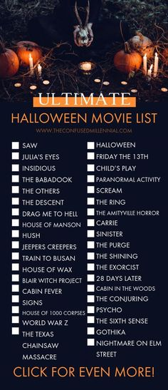 The Ultimate List of Halloween Movies from Scary to Not-So-Scary!], halloween movies to watch, spooky movies, not so scary halloween movies, halloween movies for kids… Halloween Movies To Watch, Halloween Movies List, Halloween Movie Night, Halloween Books, Scary Halloween, Halloween 2019, Happy Halloween, Netflix Movies To Watch, Movie To Watch List