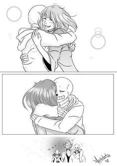 ~~~~~ A gift for a friend Told ya I was going to make a gift for u too, Hope you like it Undertale by Toby Fox Meet again Sans X Frisk Comic, Undertale Love, Undertale Ships, Undertale Comic, Dc Anime, Anime Chibi, Alphys And Undyne, Frans Undertale, Romantic Gestures