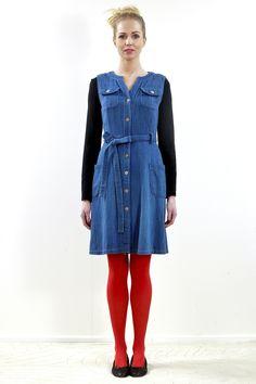 Rosie the Riveter Pinafore - Indigo - $220.00 from Pure Pod www.purepod.com.au/shop/Shop/Dresses/Rosie-the-Riveter-Pinafore-Indigo/