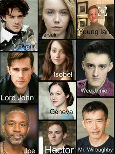 The cast for Outlander Starz season 3 Voyager Outlander Season 3, Outlander Book Series, Outlander 3, Outlander Casting, Sam Heughan Outlander, Outlander Characters, Diana Gabaldon Books, Diana Gabaldon Outlander Series, Lord John