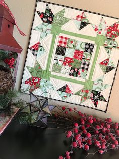 Carried Away Quilting sews Picking Petals Pattern using Comfort & Joy Fabric by My Mind's Eye for Riley Blake Designs; Kits available at LouLou's Fabric Shop Hanging Quilts, Quilted Wall Hangings, Small Quilts, Mini Quilts, Quilt Kits, Quilt Blocks, Quilting Projects, Quilting Designs, Quilting Ideas
