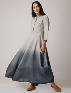 Buy MANAN Grey Ombre Linen Maxi Dress online in India at best price. Simple Tunic, Grey Ombre, Tunic Pattern, Western Dresses, Summer Wear, Silk Top, Preppy, High Neck Dress, Chic