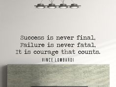 """Vince Lombardi Quote Motivational Typography Wall Decal Office Home Décor """"Success Is Never Final"""" 42x14 Inches"""