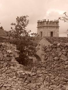 Cerca de palacio y torre de la Iglesia de San Francisco Javier, desde senda de Valmores
