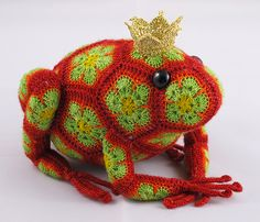 Ravelry: Tomato the Frog Prince African Flower Crochet Pattern pattern by Heidi Bears