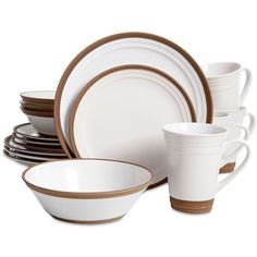 Gibson Elite Brynn White 16-Piece Dinnerware Set ($70) ❤ liked on Polyvore featuring home, kitchen & dining, dinnerware, open white, stoneware dinnerware, white dinnerware, gibson dinnerware set, white stoneware dinnerware and gibson stoneware