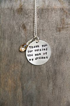 SALE Wedding Mother In Law Gift, Mother in Law Christmas Gift, Thank You For Raising The Man Of My Dreams, Valentines For Him, Mother In Law. $47.00, via Etsy.