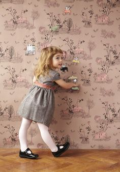 Magnetic Woodlands Wallpaper Pink & Brown by Sian Zeng | JUST KIDS WALLPAPER #kidsrooms #kidswallpaper