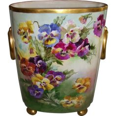 Hand Painted Pansies on one Side and Lilacs on the Reverse; Vintage China, Vintage Floral, Pots, Big Vases, Limoges China, Pansies, Lilacs, Daffodils, Fine Porcelain