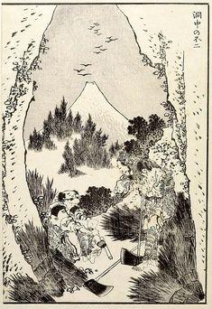 Hokusai - Fuji from a Cave (Dôchû no Fuji): Detatched page from One Hundred Views of Mount Fuji (Fugaku hyakkei) Vol. 1, Edo period, 1834 (Tempô 5)