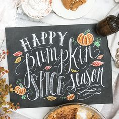 """Nothing says """"fall"""" quite like a slice of homemade pumpkin pie! Celebrate the season with this fun, illustrated pumpkin pie recipe chalkboard print. The design includes cute ingredient illustrations a"""