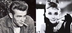 Two of my absolute favorite people in the entire world, ever. James Dean and Audrey Hepburn