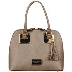 Marc New York Tri Compartment FauxLeather Dome Satchel w/ Stud Gold ($75) ❤ liked on Polyvore featuring bags, handbags, studded purse, faux leather purses, brown handbags, gold handbags and vegan handbags