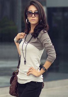 Dark Grey Color Block Crew Neck Long Sleeve Slim Fashion T-Shirt