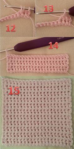 6 Sådan hækles dobbelt fastmasker fra billed 12 til 15