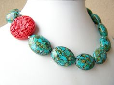 Turquoise Statement Necklace with Red, Carved Cinnabar & Turquoise Mosaic, Bold Beaded Necklace with Asymmetric Focal - Tibet