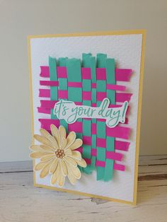 handmade greeting card with a woven paper background ... from video: Craft and Chat : Paper Weaving | Inspiring Inkin' - Amanda Fowler Shop for Stampin' Up! UK products Strip Cards, Locker Decorations, Softball Gifts, Cheerleading Gifts, Basketball Gifts, Paper Weaving, July Crafts, Card Tutorials, Paper Cards