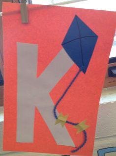 Preschool Letter K craft Preschool Letter Crafts, Alphabet Letter Crafts, Abc Crafts, Preschool Learning Activities, Alphabet Activities, Preschool Crafts, Letter Art, Art Activities, Busy Bee Preschool