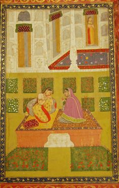 Patamanjari Ragini: a love-sick woman and her attendant. Two women are seated on an elevated platform in the centre of a garden. Mughal Style, c.18th century.