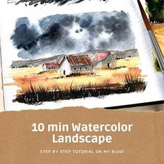 For this Sunday I bring to you a quick and fun watercolor landscape to practice houses and stormy skies! Watercolor Paintings For Beginners, Watercolor Landscape Paintings, Watercolor Images, Easy Watercolor, Watercolor Poppies, Watercolor Landscape Tutorial, Watercolor Barns, Watercolor Architecture, Watercolor Tutorial Beginner