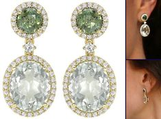 Kate debuted these Kiki McDonough drop earrings for her visit with the Prime Minister of India on April 12, 2016 in New Dehli, India. The earrings are customized with Green Tourmaline, Green Amethyst and Diamonds.