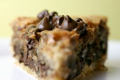 Chocolate Chip Pie -preheat oven to 325 -beat 2 eggs -add 1/2 cup of all purpose flour, 1/2 cup of sugar, 1/2 cup of brown sugar, 3/4 cup of softened butter, and 1 cup of chocolate chips. bake it in a graham cracker crust! AMAZING.