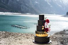 BLACK QUEEN   STYLED SHOOT Black Dress   Braut   Bride   Red   Mountains   Switzerland   Lake   Snow   Cake   Torte