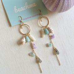 Gem stone ocean earrings