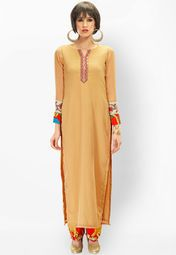 Admyrin Beautiful Beige Chiffon Kurti With Pant Online Shopping Store