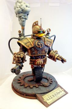 Steampunk version of Gizmoduck robot suit from Disney's animated television series DuckTales. Beautiful GIZMOduck sculpture made by American artist Tim Wollweber. Arte Robot, Robot Art, Robots, Steampunk Cosplay, Steampunk Diy, Steampunk Airship, Bric À Brac, Duck Tales, Vinyl Toys