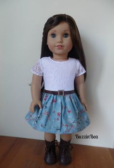 Lace and Blue Floral Dress by BuzzinBea on Etsy  $25