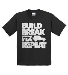 Build, Break, Fix, Repeat Wrangler Youth Tee