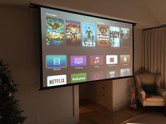 """Drop down 132"""" projector screen in your bedroom? Um! Yes please! #BedroomUpgrade"""
