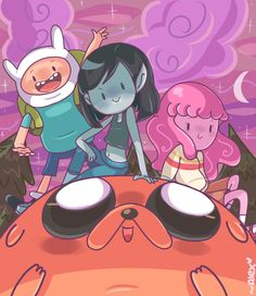 Adventure Time: Finn, Marceline, Pb, and Jake Adventure Time Wallpaper, Adventure Time Anime, Cartoon Shows, Cartoon Art, Marceline And Bubblegum, Finn The Human, Vampire Queen, Jake The Dogs, Nickelodeon