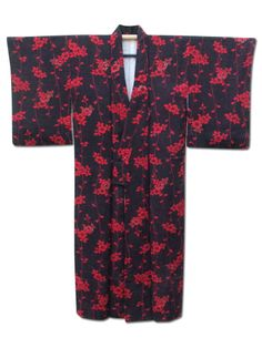☆ New Arrival☆ 'Hanging Garden' #black #silk #vintage #Japanese #kimono with #floral pattern from #FujiKimono http://www.fujikimono.co.uk/fabric-japanese/hanging-garden.html
