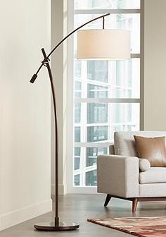 Bronze Boom Arc Floor Lamp with Linen Shade Bedroom Lamp Option.  LampsPlus.  $299.99